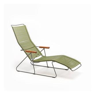 Houe CLICK sunlounger ligstoel met bamboe armleuning olijfgroen