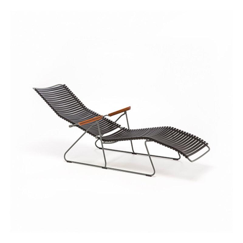 Houe-collectie CLICK sunlounger ligstoel met bamboe armleuning olijfgroen