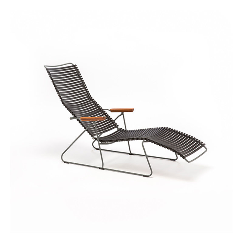 Houe-collectie CLICK sunlounger ligstoel met bamboe armleuning lichtblauw