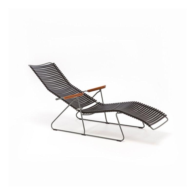 Houe-collectie CLICK sunlounger ligstoel met bamboe armleuning donkerblauw