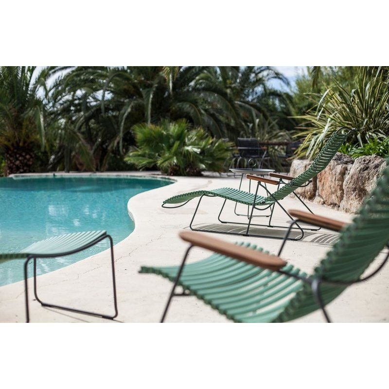 Houe-collectie CLICK Sunlounger with Olive green lamellas