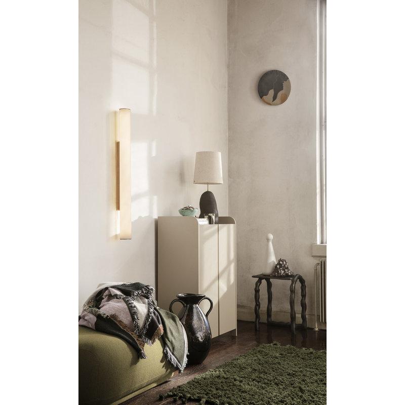 ferm LIVING-collectie Amass vloerkleed olijf hoogpolig 140x140
