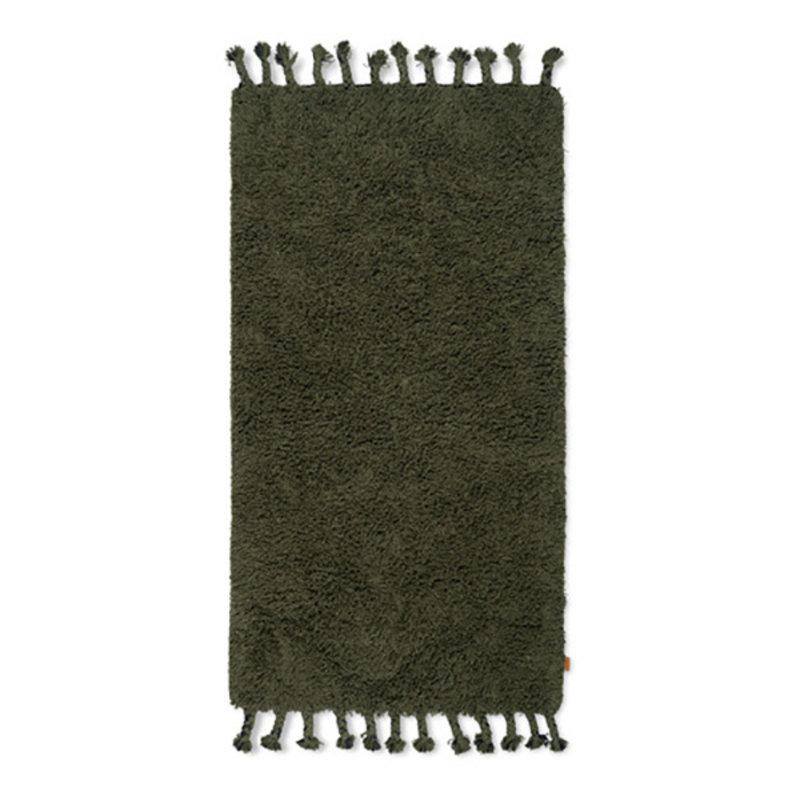 ferm LIVING-collectie Amass vloerkleed olijf hoogpolig  70x140