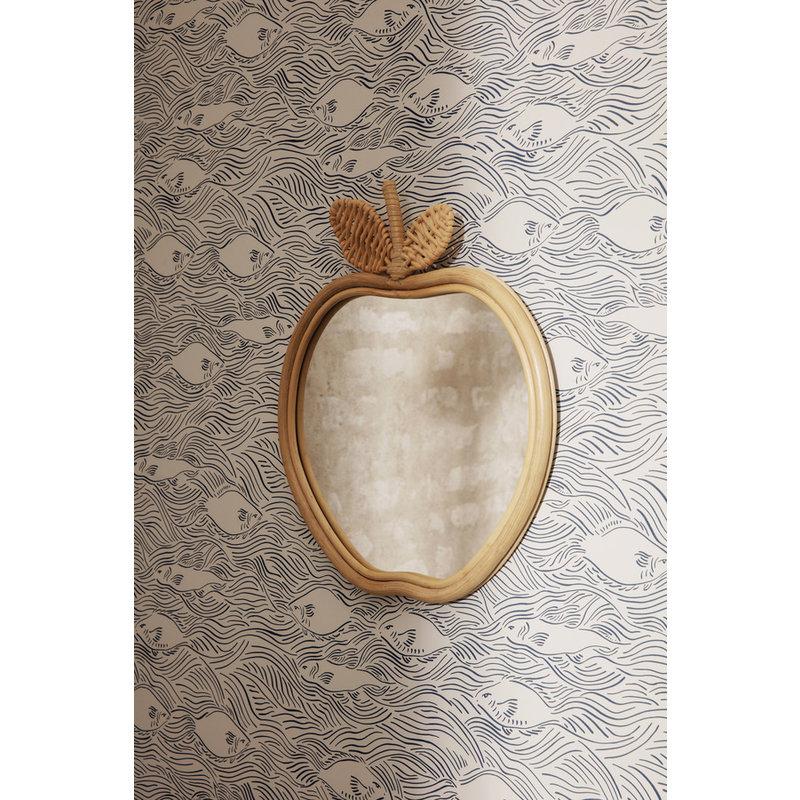 ferm LIVING-collectie Apppel spiegel bamboe - rattan