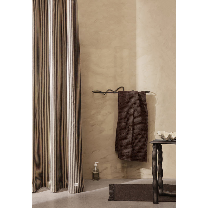 ferm LIVING-collectie Chambray Shower Curtain - Sand/Black