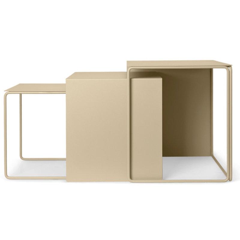 ferm LIVING-collectie Cluster Tafels - Set van 3  Cashmere