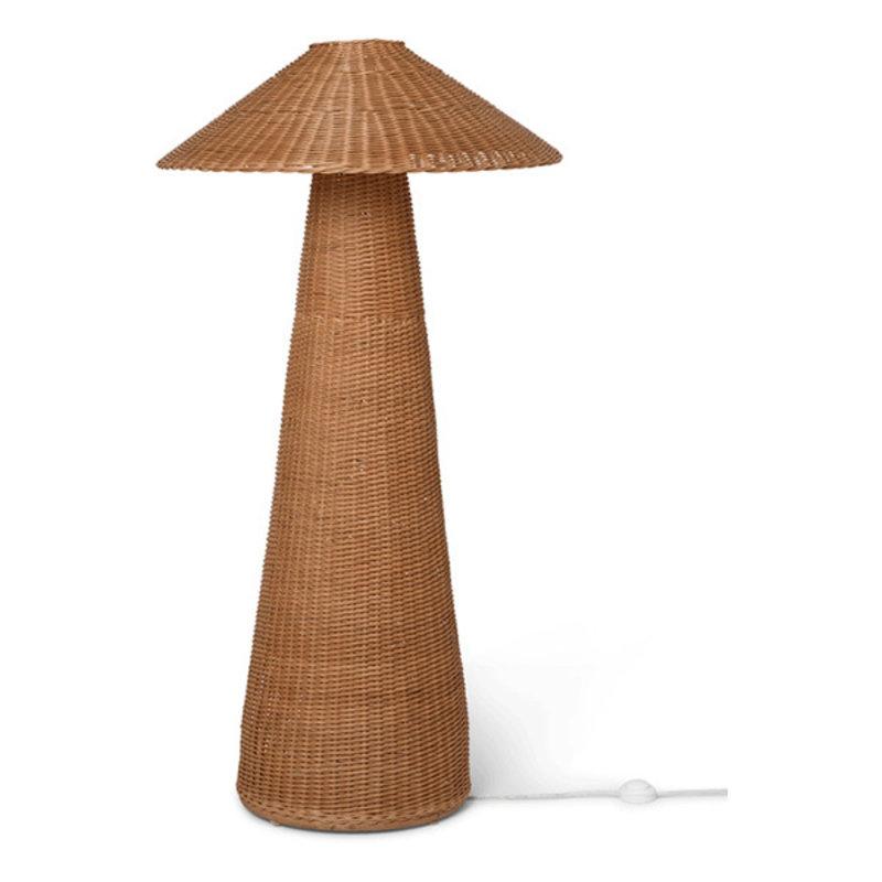 ferm LIVING-collectie Dou vloerlamp  Naturel rotan