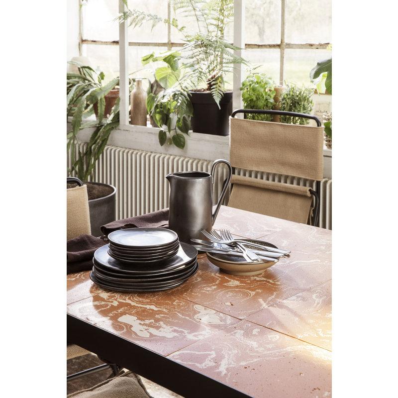 ferm LIVING-collectie Café tafel Flod Tiles Teracotta/Black