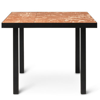 ferm LIVING Flod Tiles Café Table-Teracotta/Black