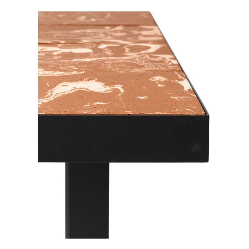 ferm LIVING-collectie Flod Tiles Dining Table-Teracotta/Black