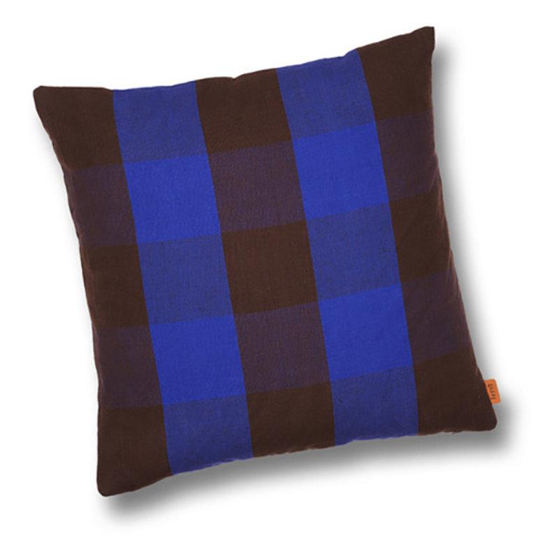 ferm LIVING-collectie Kussen Grand Chocolate/Bright Blue