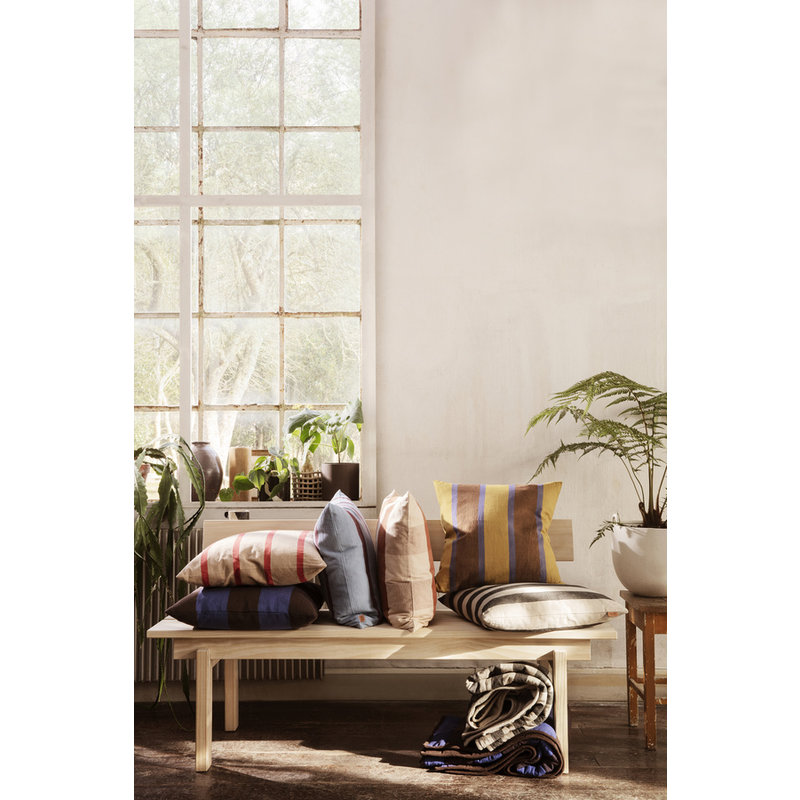 ferm LIVING-collectie Kussen Grand Lime/Bright Blue/Choco