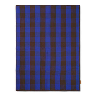 ferm LIVING Grand Quilted Blanket - Choco/Br Blue