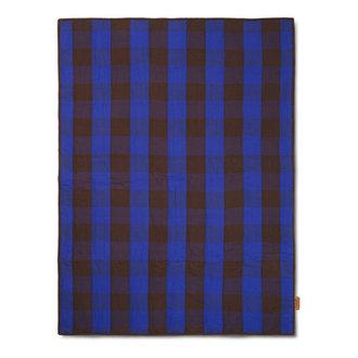 ferm LIVING Quilt deken Grand Choco/Bright Blue 120x170