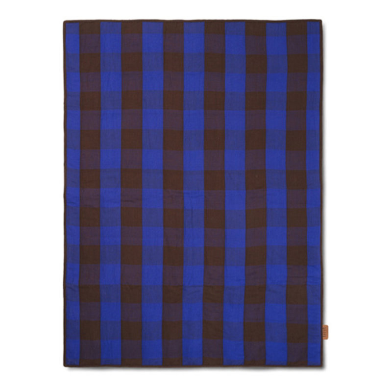ferm LIVING-collectie Grand Quilted Blanket - Choco/Br Blue