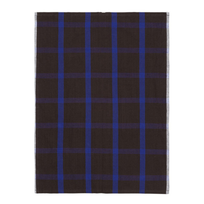 ferm LIVING-collectie Hale Tea Towel - Chocolate/Bright Blue