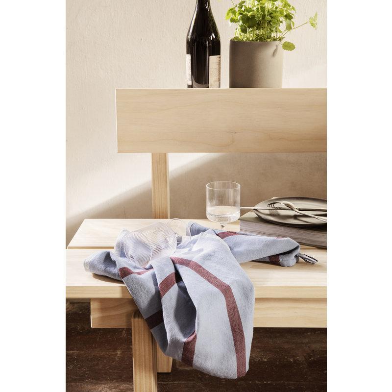 ferm LIVING-collectie Hale Tea Towel - Faded Blue/Burgundy