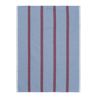 ferm LIVING Hale Tea Towel - Faded Blue/Burgundy