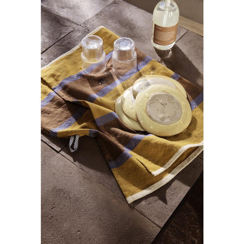 ferm LIVING-collectie Hale Tea Towel - Lime/Bright Blue/Choco