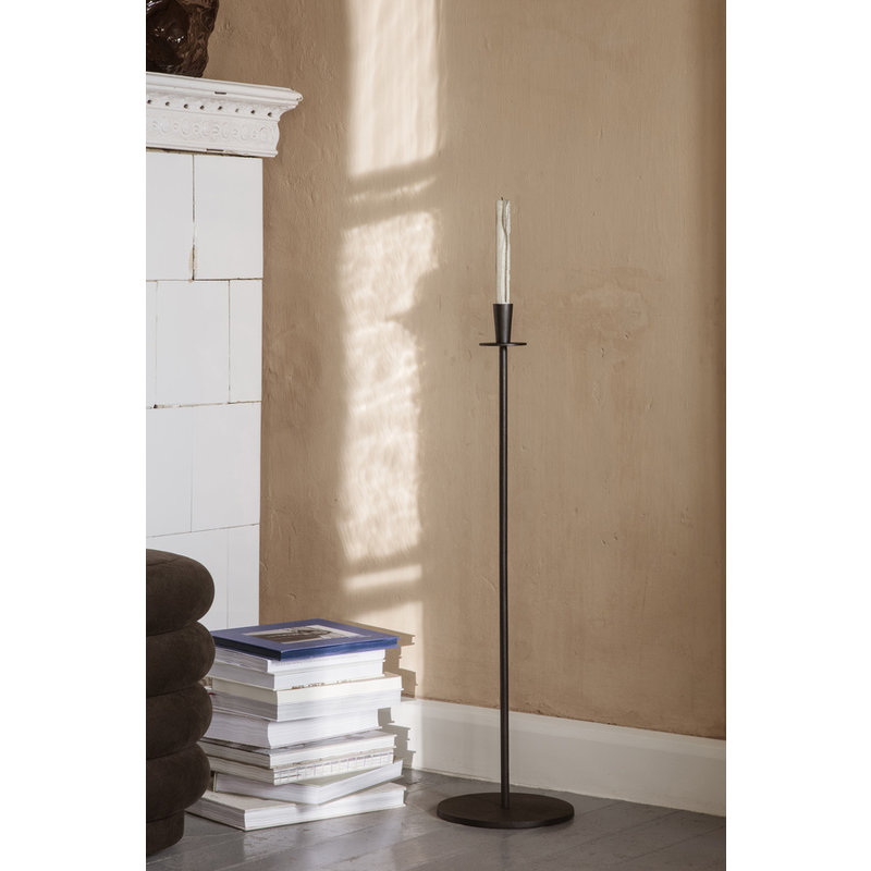 ferm LIVING-collectie Hoy Casted Candle Holder - Tall - Black