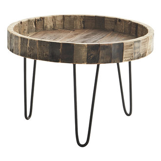Madam Stoltz Ronde salontafel met gerecycled houten blad