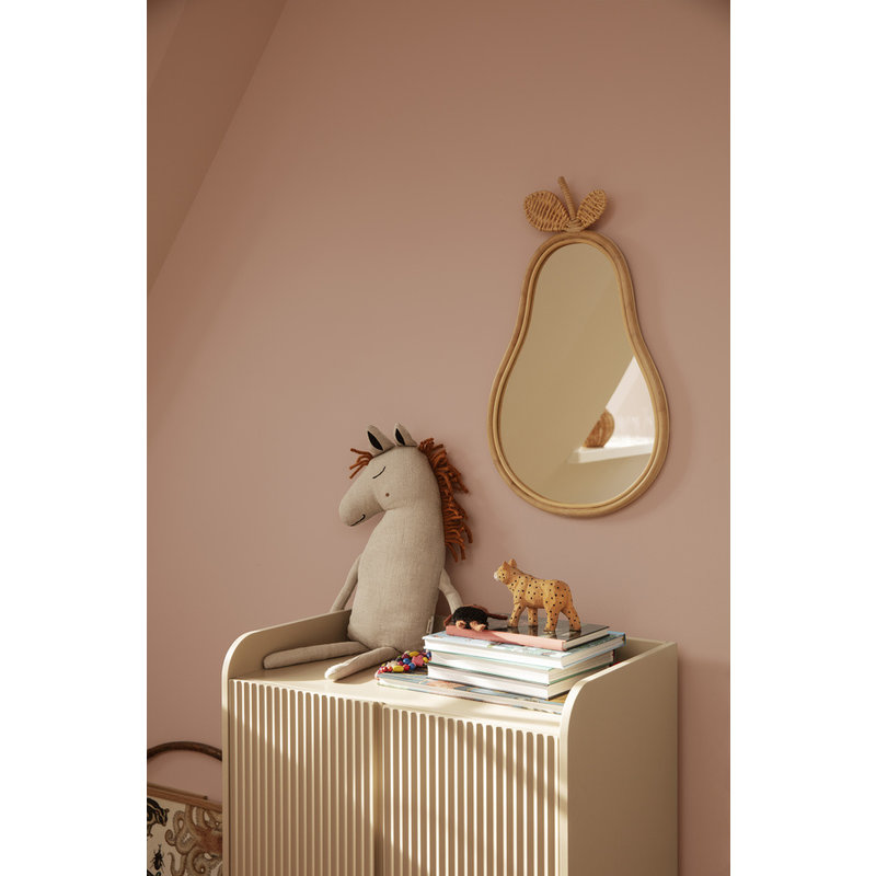 ferm LIVING-collectie Spiegel Peer bamboe -rattan