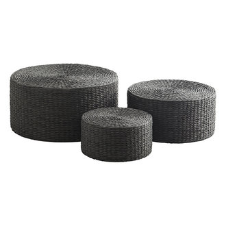 Madam Stoltz Paper rope poufs - Black