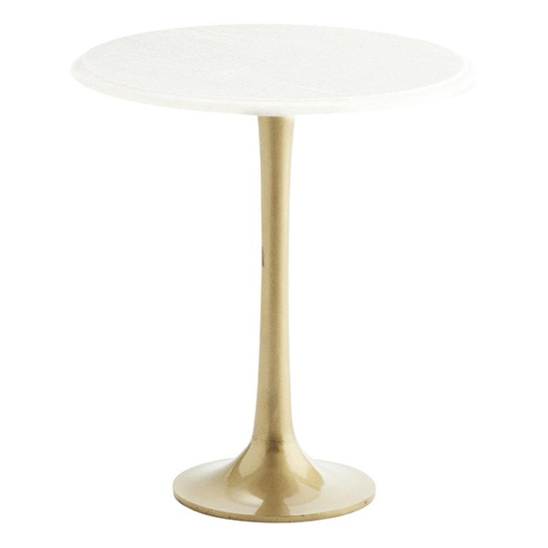 Madam Stoltz-collectie Bijzettafel wit marmer/goud