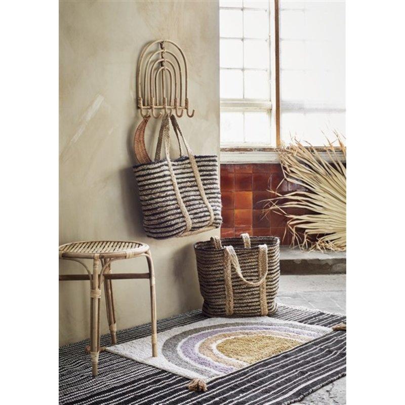 Madam Stoltz-collectie Bamboe bijzettafel rond met rotan - set van 2