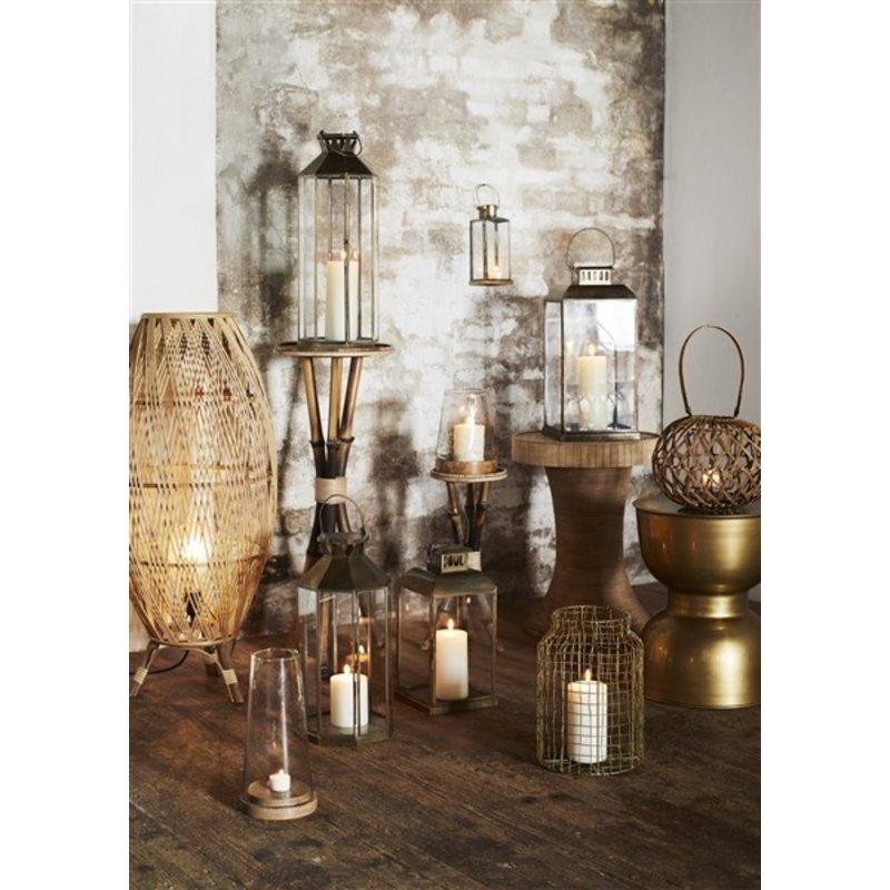 Madam Stoltz-collectie Bamboe bijzettafel rond met rotan