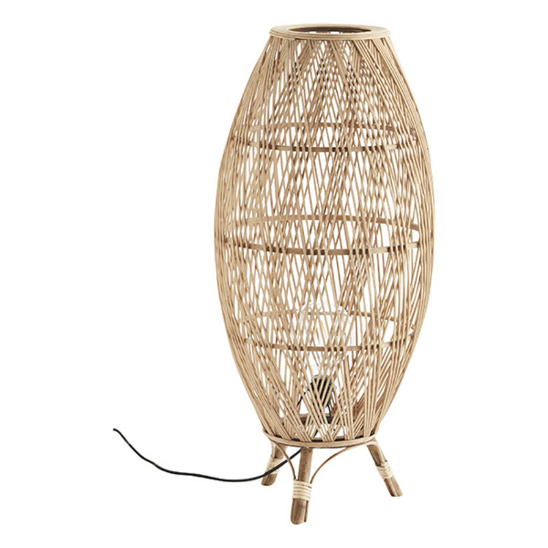 Madam Stoltz-collectie Bamboe vloerlamp met rotan