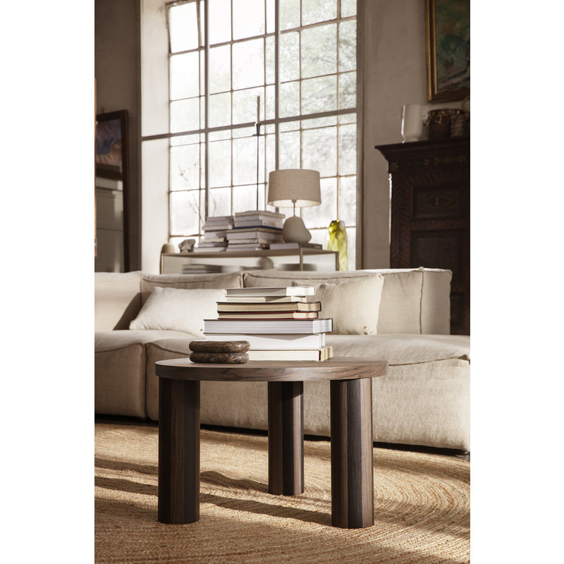 ferm LIVING-collectie Post Coffee Table S - Smoked Oak Lines