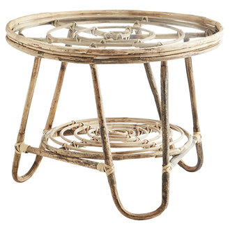 Madam Stoltz Round bamboo coffee table - Natural, clear