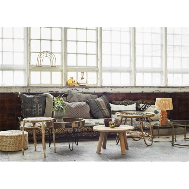 Madam Stoltz-collectie Round bamboo coffee table - Natural, clear