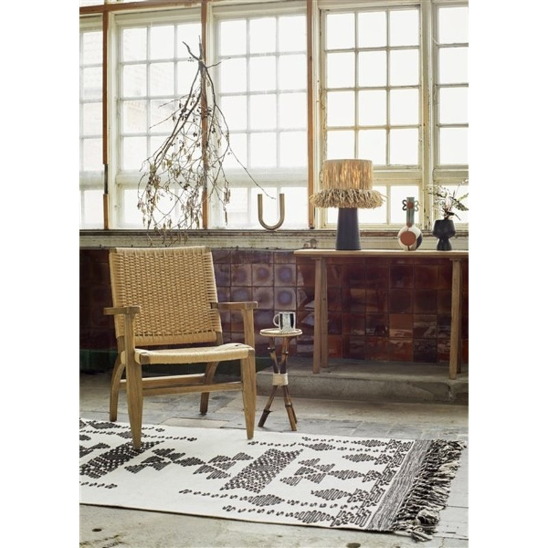 Madam Stoltz-collectie Wooden lounge chair w/ paper rope - Brown, Natural