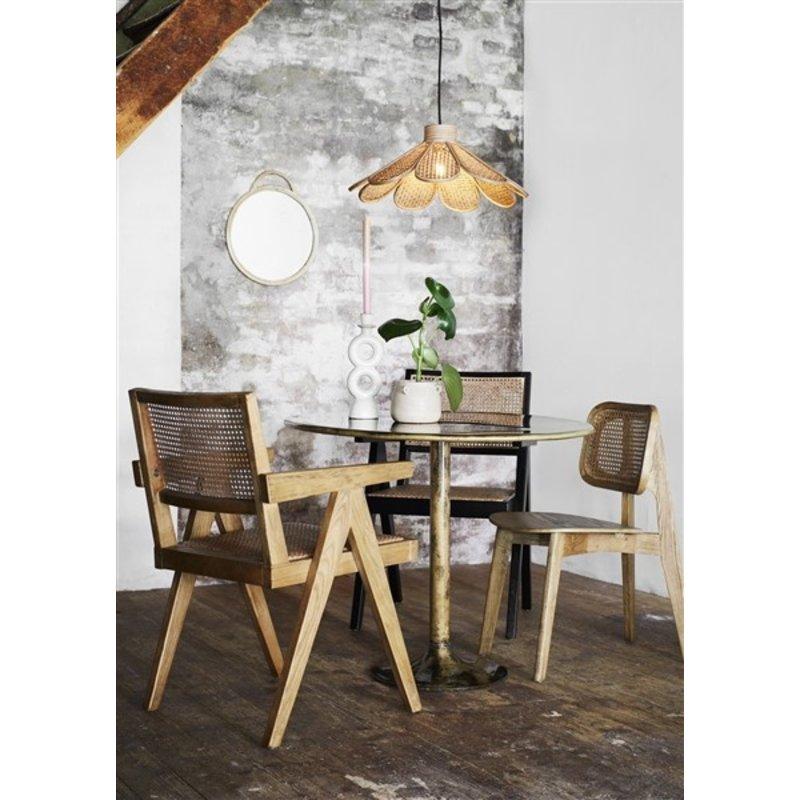 Madam Stoltz-collectie Wooden chair w/ rattan - Natural