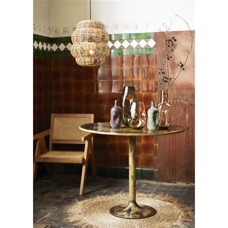 Madam Stoltz-collectie Houten eetkamerstoel met armleuning naturel met rotan