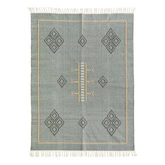 Madam Stoltz Handwoven cotton rug - Jade, black, indian tan, off white