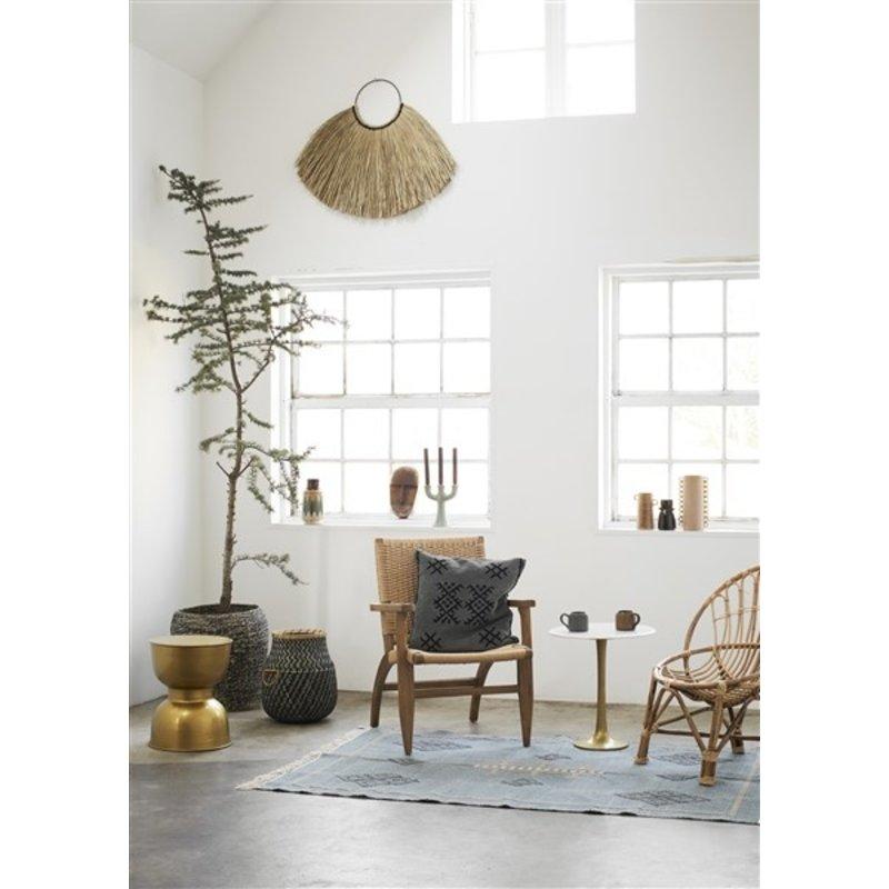 Madam Stoltz-collectie Handwoven cotton rug - Jade, black, indian tan, off white