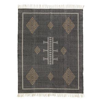 Madam Stoltz Handwoven cotton rug - Black, indian tan, off white