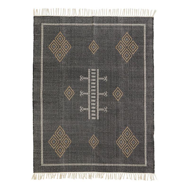 Madam Stoltz-collectie Handwoven cotton rug - Black, indian tan, off white