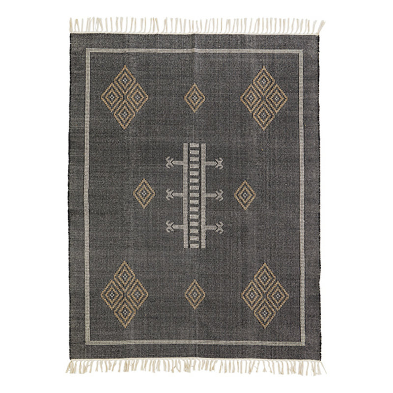 Madam Stoltz-collectie Katoenen vloerkleed zwart met handgeweven print
