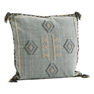 Madam Stoltz Handwoven cushion cover - Jade, indian tan, black