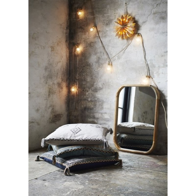 Madam Stoltz-collectie Handwoven cushion cover - Jade, indian tan, black
