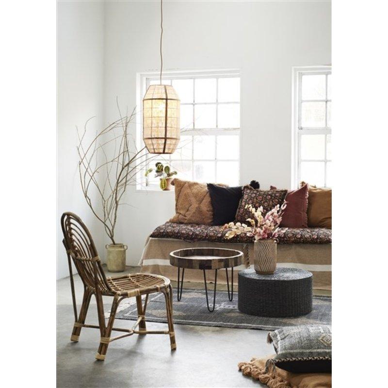 Madam Stoltz-collectie Handwoven cushion cover - Black, indian tan, beige