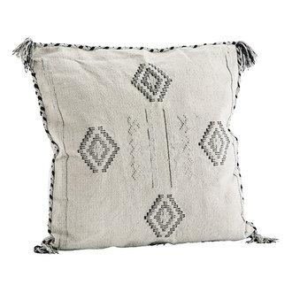 Madam Stoltz Katoenen kussenhoes beige met handgeweven print
