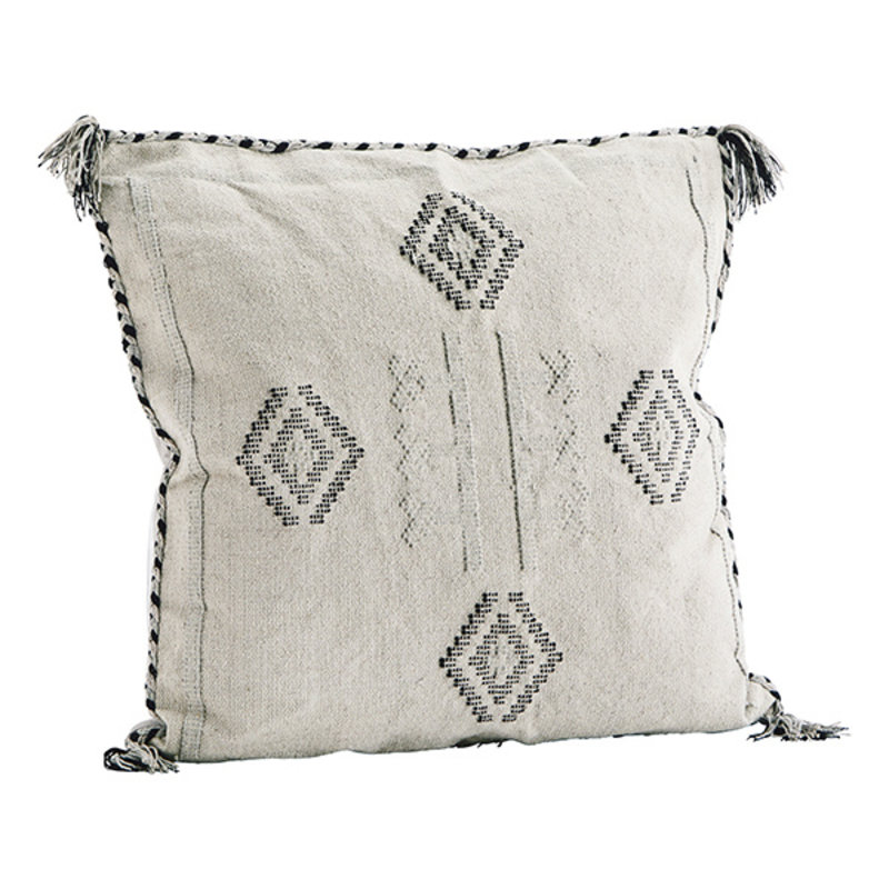 Madam Stoltz-collectie Katoenen kussenhoes beige met handgeweven print
