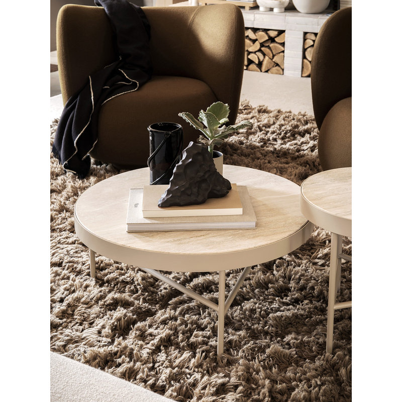 ferm LIVING-collectie Salontafel Travertine Cashmere groot 70,5 cm
