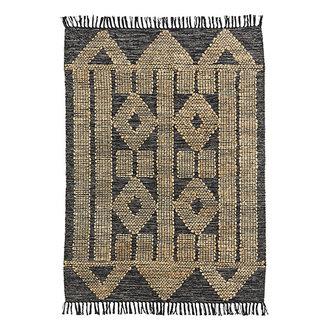 Madam Stoltz Handwoven cotton rug w/ jute - Black, natural
