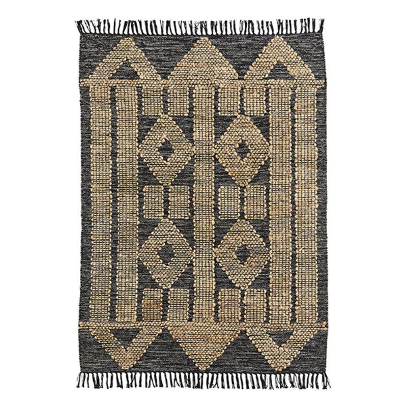 Madam Stoltz-collectie Handwoven cotton rug w/ jute - Black, natural